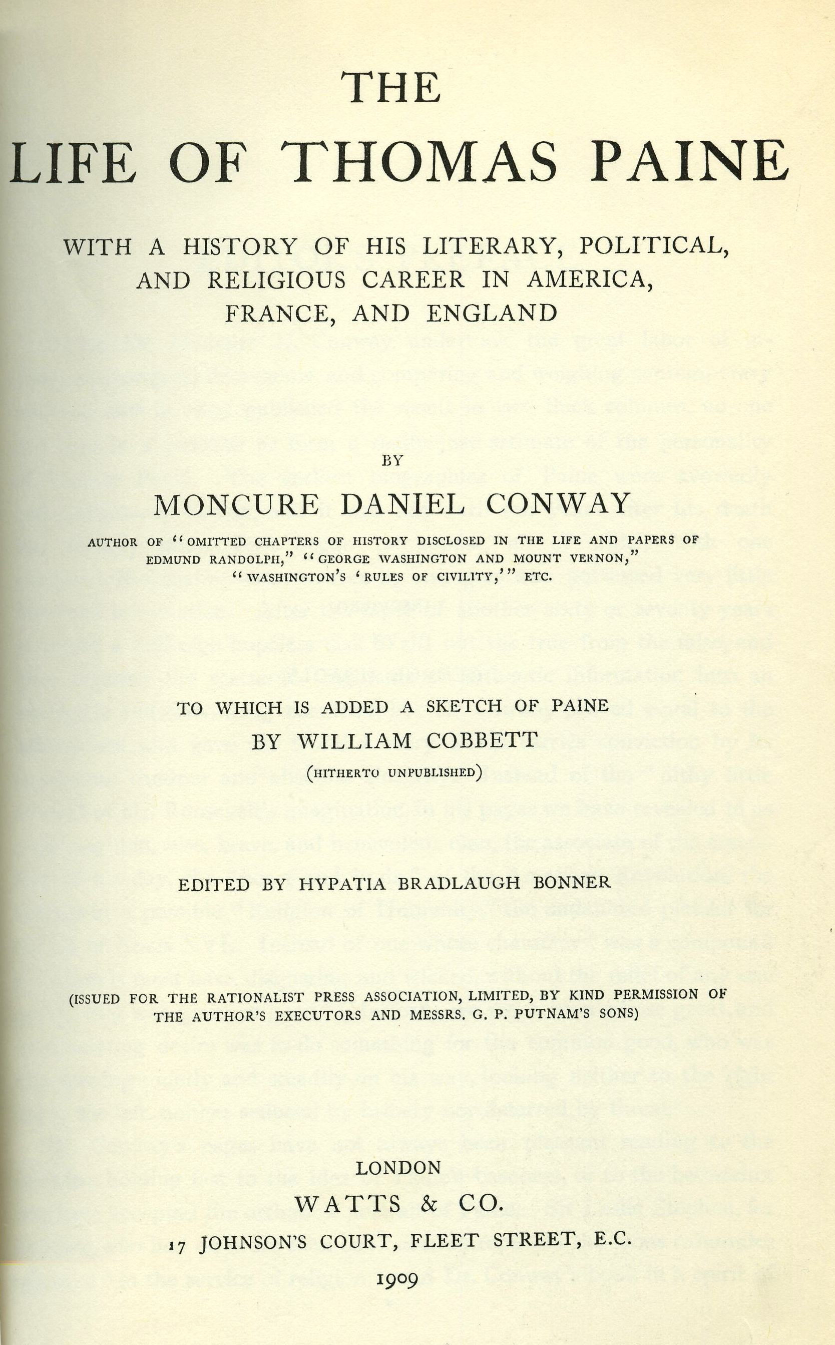 thomas paine friends inc the life of thomas paine moncure conway 1893 made available online by google books